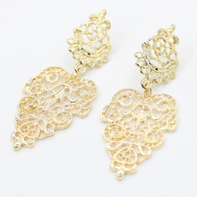 Elegant Gold Silver Hollow Earrings For Women Bohemia Drop Earring Big Leaf Dangle Charm Statement Jewelry Accessory Pendientes(China (Mainland))
