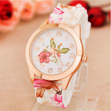 2016 Fashion Brand Women Watch Reloj Rose Flower Print Silicone Floral Jelly Dress Watches Lady Girls Causal Quartz WristWatches(China (Mainland))