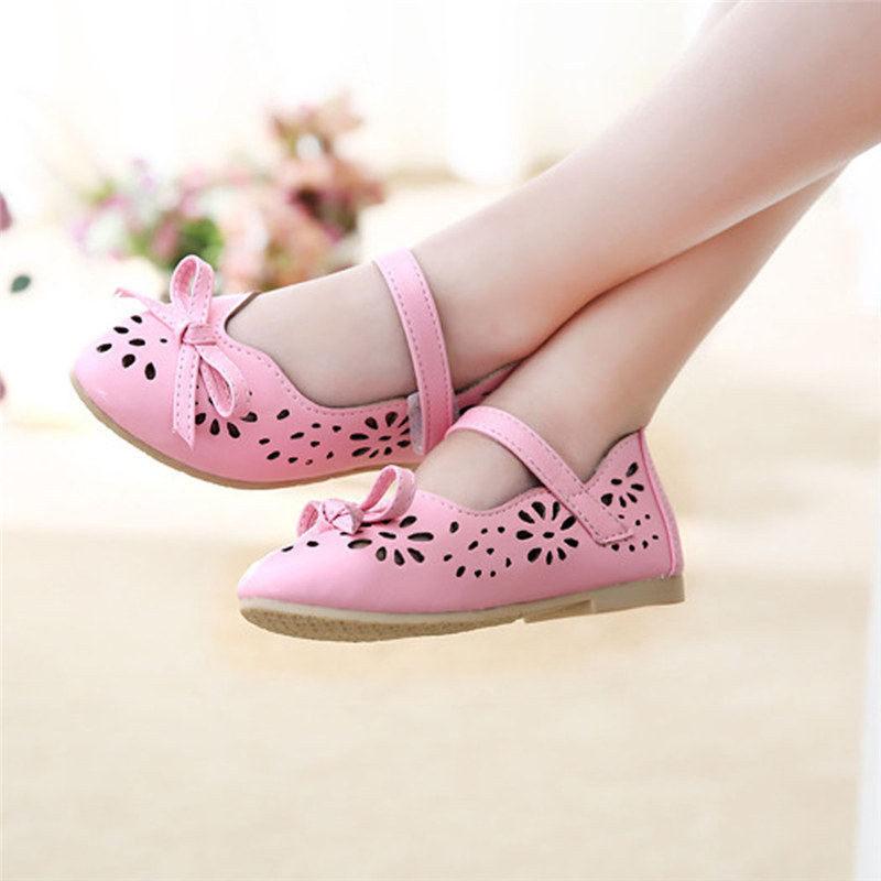 Fashion Girls Childrens Pierced Casual Flat Princess Shoes Korean Blue Pink Beige 4-12 Y 0280(China (Mainland))