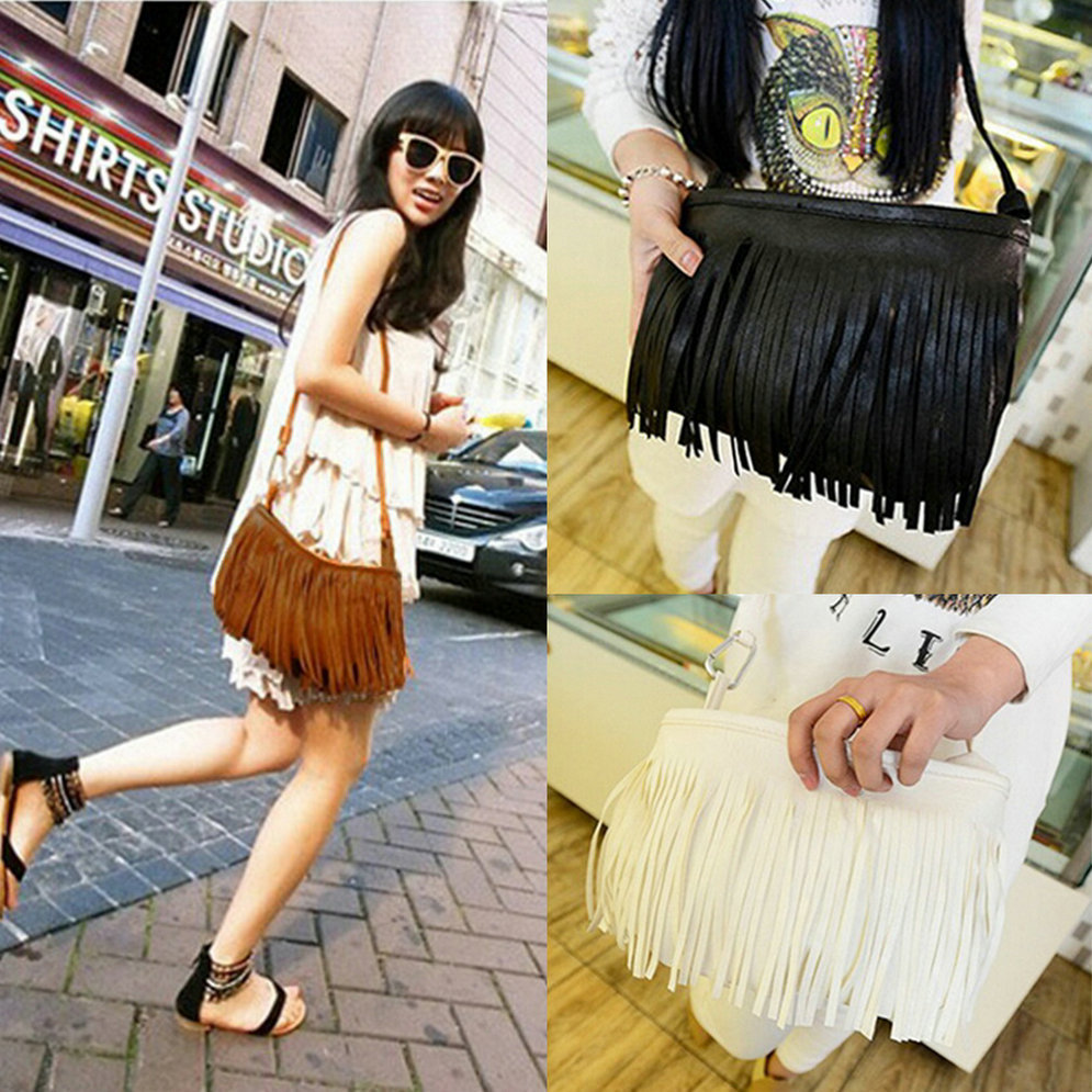 Fashion Women Punk Satchel Tassel Suede Fringe Shoulder Messenger Cross Body Bag Ladies Mini Small Casual PU Leather bags(China (Mainland))