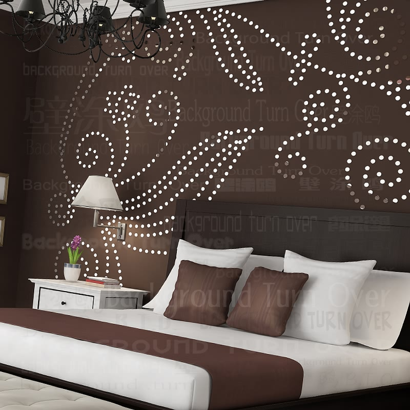 Diy plant tree pattern round dot 3d wall sticker home for Big bedroom wall mirror