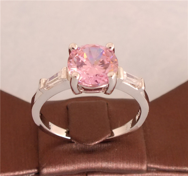 silver Pink Pretty Cubic Zirconia Fashion Ring Size 7/8/9 - Jiang Xiaobin's store
