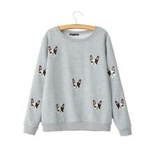 Women Embroidery cute dog pattern pullovers autumn style long sleeve sweatshirts feminine casual street wear tops SW787(China (Mainland))