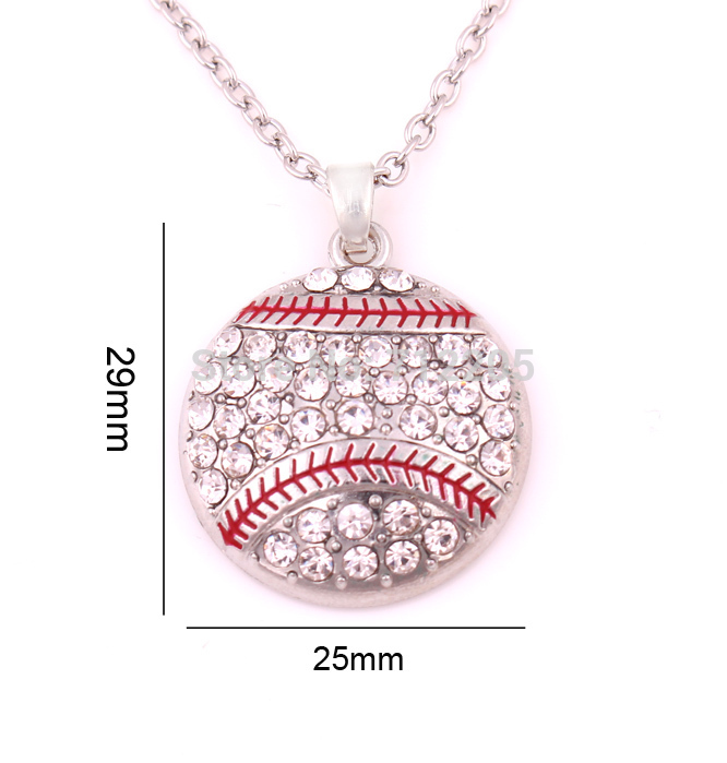 New product 10pcs zinc alloy Baseball Softball Mom Pave clear Crystal sports Pendant chain necklaces(China (Mainland))