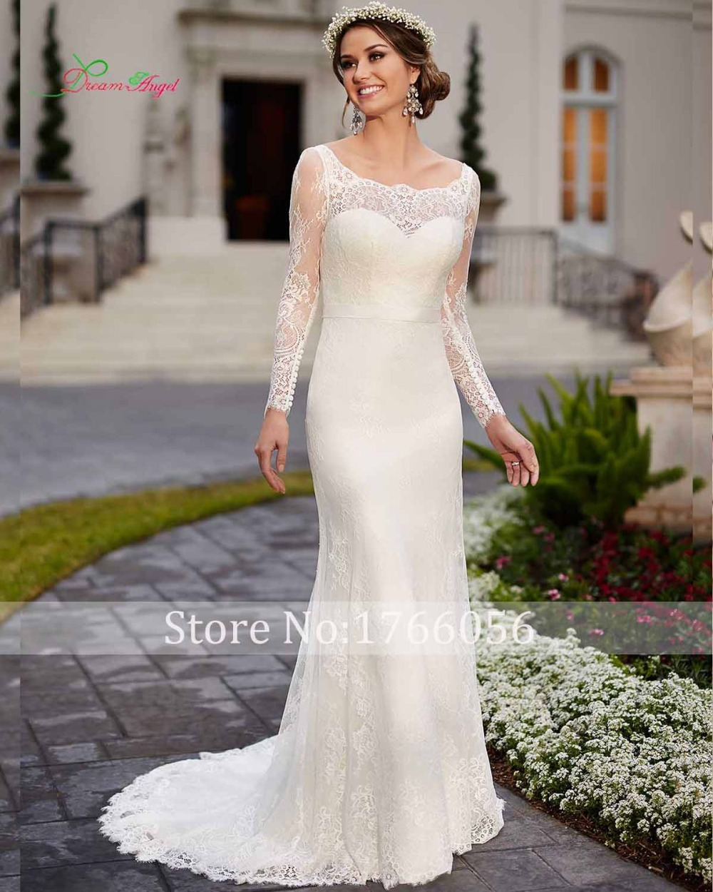 Long sleeve sheath wedding dress ejn dress for Long wedding dresses with sleeves