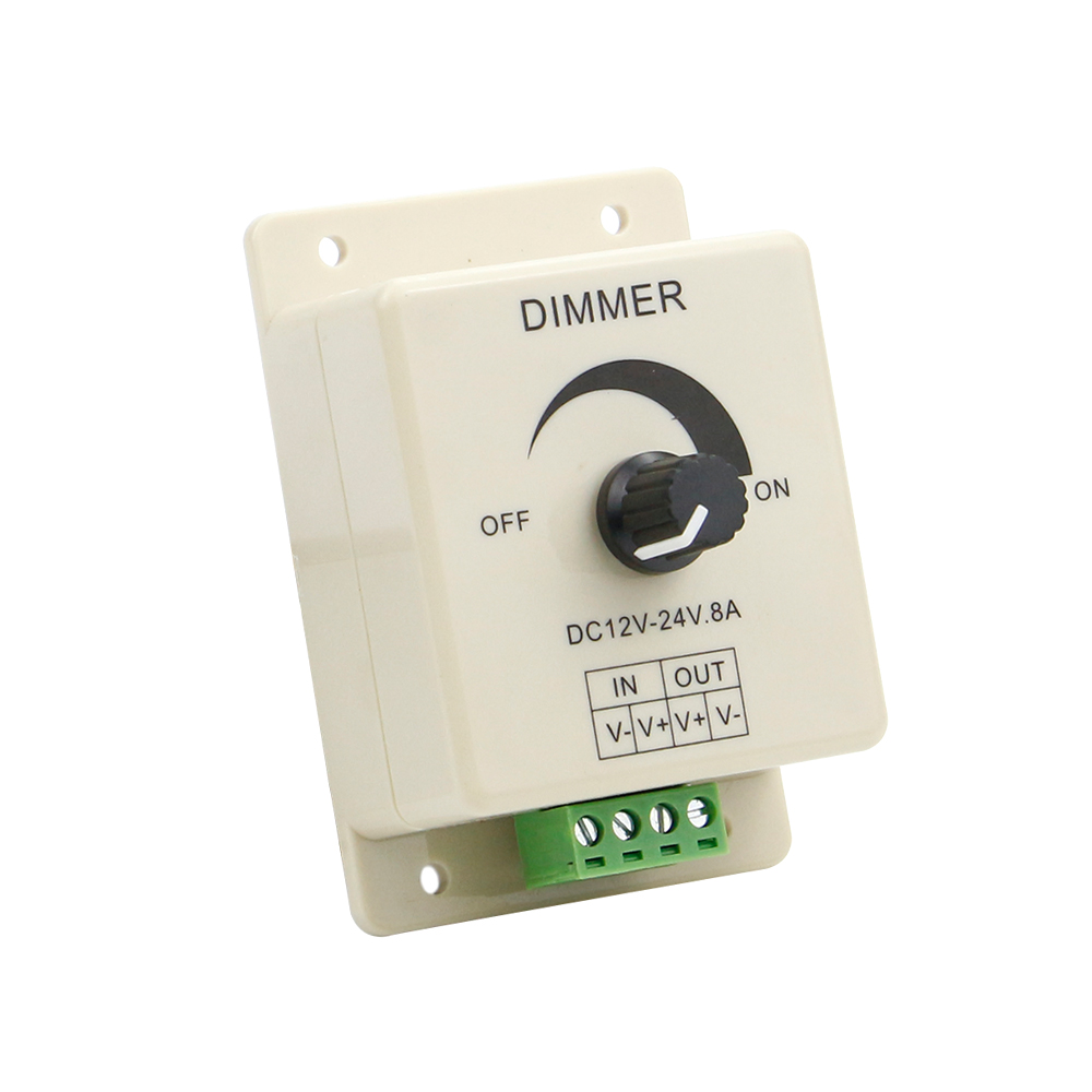 DC12V-24V 8A LED Dimmer Switch Knob-Operated Manually Bright-Adjust Switch Dimmer Controller PWM LED Dimmer for LED Strip Light(China (Mainland))