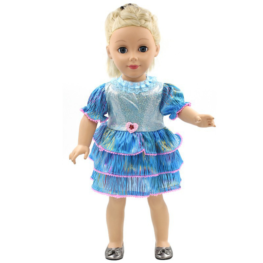 Super Shiny Blue Dolls Princess Dress Play House Toys Clothing Fits 18 Inch Doll American Girl Our Generation(China (Mainland))