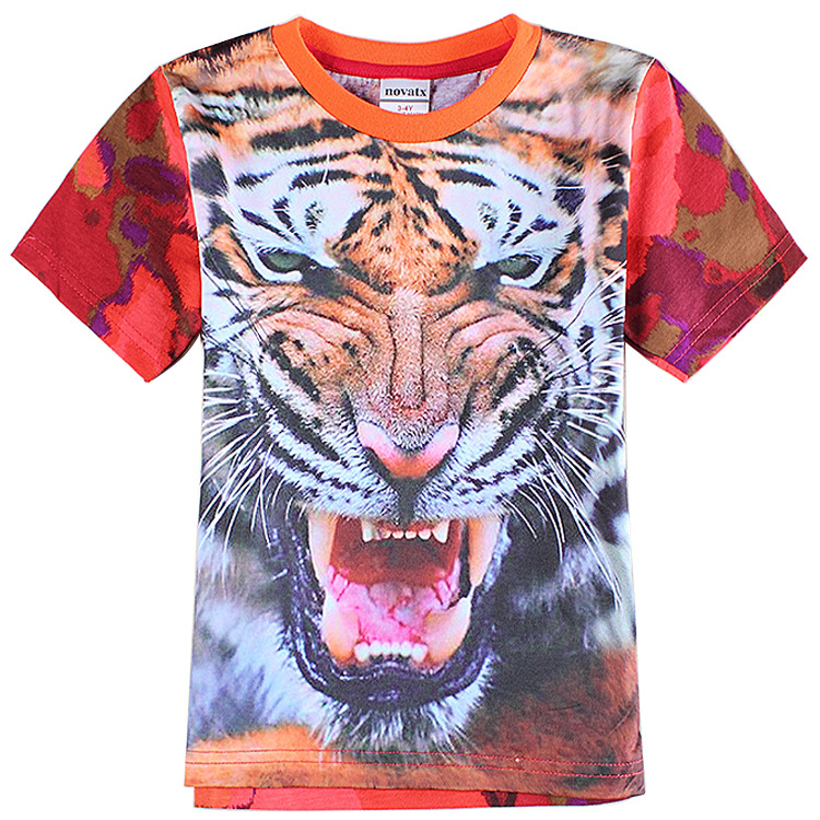 Europe and America Hot Sale Boys Summer Short Sleeve T shirt Kids 3D Tiger Printed T shirt Children 100% Cotton Clothes Z135(China (Mainland))