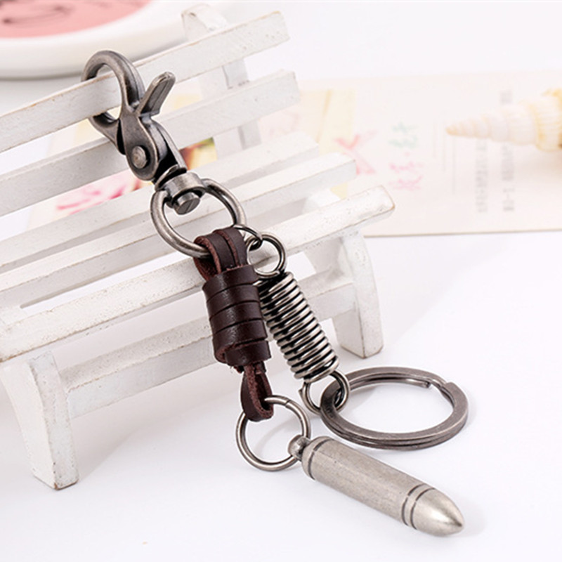 New Arrivals Punk Retro Fashion Creative Car Key Ring Keychain Leather Jewelry Wholesale Bronze Bullet For Men Women Gift