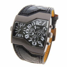 2016 6 Coloes Super Cool Mens Three Dial Design Quartz Watches Double Time Display Snake Leather Strap Male Sport Military Clock