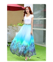 Floor-Length Bohemian Floral Printed Chiffon Skirts 2016 New Womens Midi High Waist Elegant Ladies Spring Summer Casual Skirts