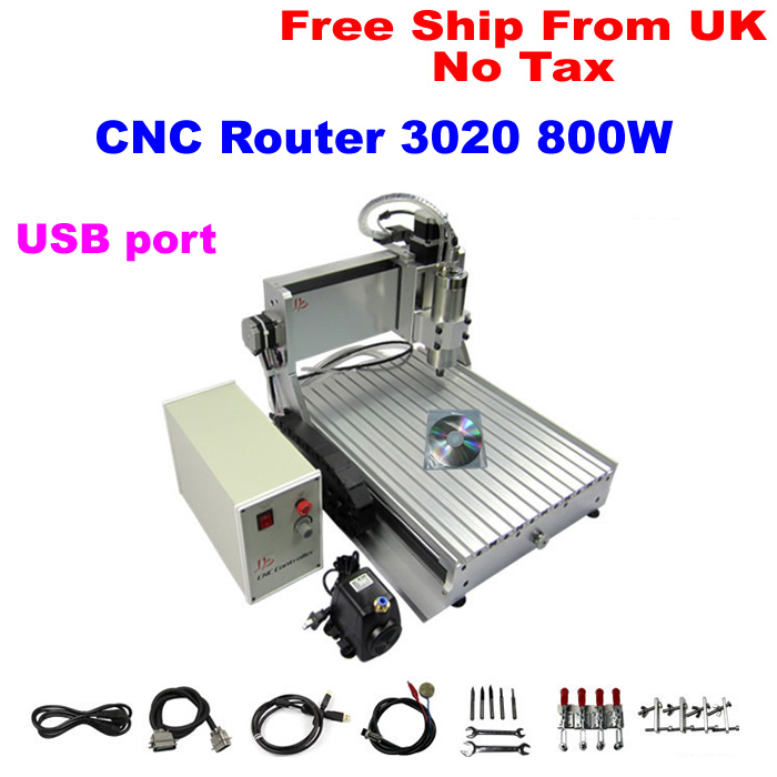 (EU Free Taxes!) mini cnc 3020 800w router,portable cnc engraver,advertising cnc router usb port 0.8kw cnc router(China (Mainland))