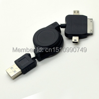 3 IN 1 Multi-function Retractable USB Charger Sync Cable For iPhone HTC Samsung gYM(China (Mainland))