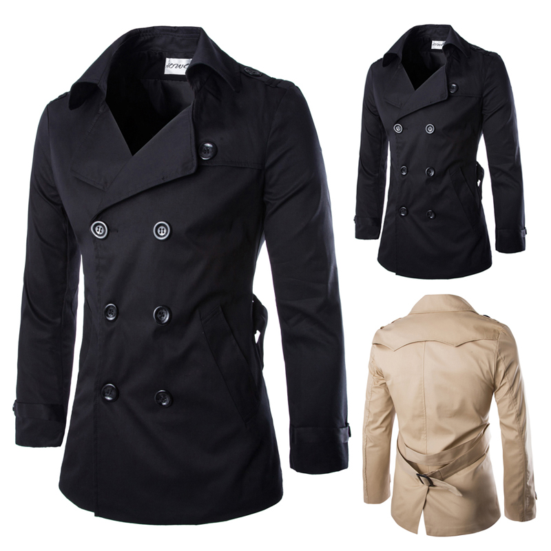 Buy British Style Mens Autumn Winter Double Breasted Trench Coat