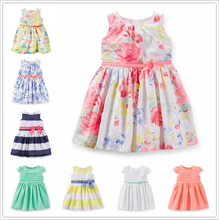 Name brand girl dress Flower Printing girls clothes plaid baby girls dress high quality kids clothes baby dress for 6-24M(China (Mainland))