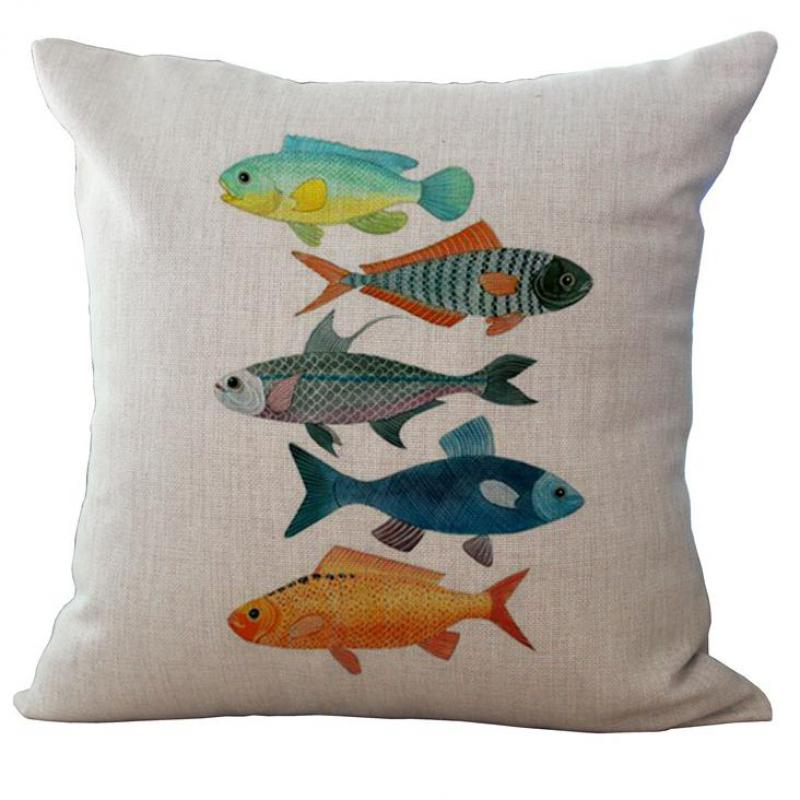 Factory Direct Supply Mediterranean Series Marine Fish Printing Linen Throw Pillow Cushion For Children Holiday Gift(China (Mainland))