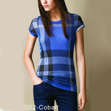 2015 Brand fashion Women's Cotton T-Shirts Summer style TShirts Luxury Designer Clothes Casual Classic Grid T Shirt Blue Red(China (Mainland))
