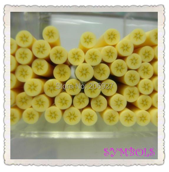 5pcs A-20 5mm Cute Round Banana Fruit Cane Fancy Nail Art Polymer Clay Cane Nail Art Decoration(China (Mainland))