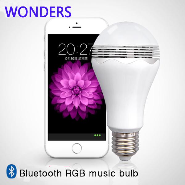 LED smart Light Bulb Lamp & Wireless Bluetooth Speaker E27 Base Music Player Sound Box Lighting(China (Mainland))