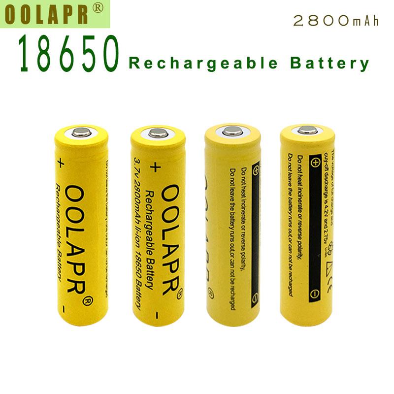 4 XPCS A Lot OOLAPR Yellow 18650 rechargeable Battery 3.7V Real Capital 2800mAh li-ion Battery Free Shipping(China (Mainland))
