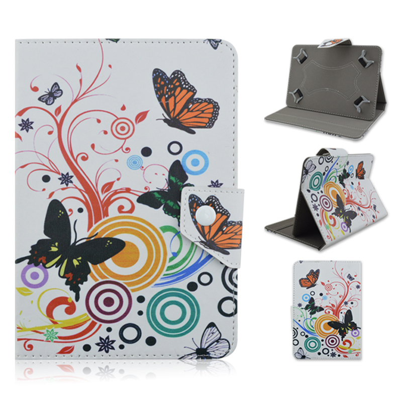 Butterfly flower case 7 inch Leather Stand Cover For Android Tablet PC PAD tablet 7 inch case universal Accessories S4A92D(China (Mainland))