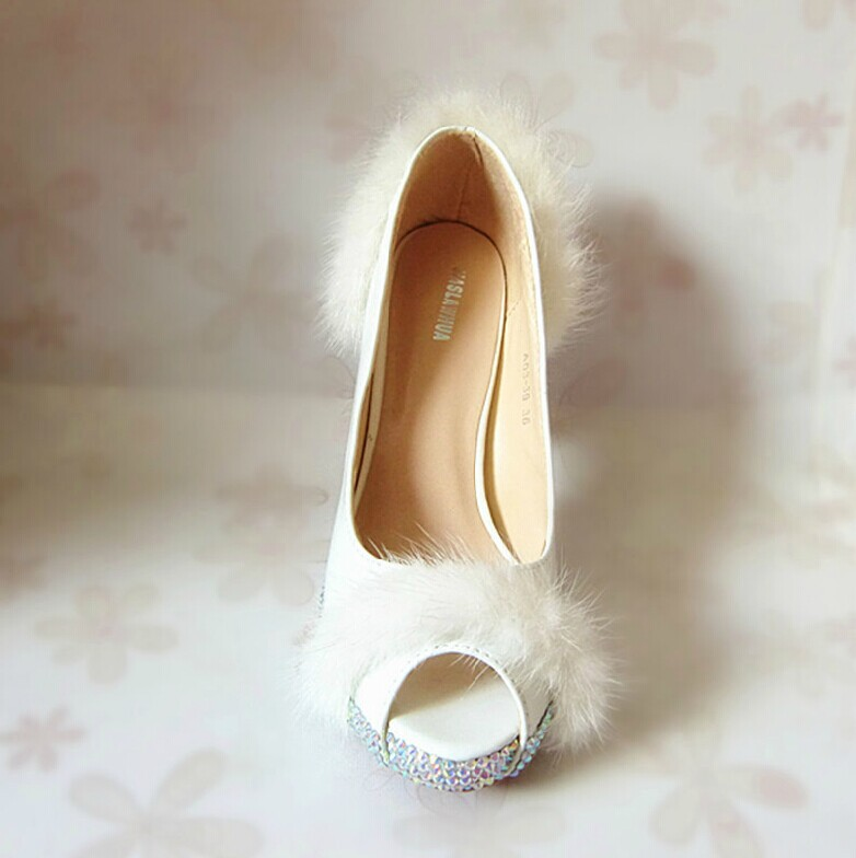 Spring Summer White Mink Fur Bride Wedding Shoes Crystal Peep Toe Shoes Lady Party Dress Shoes Women High Heel Nice Shoes(China (Mainland))