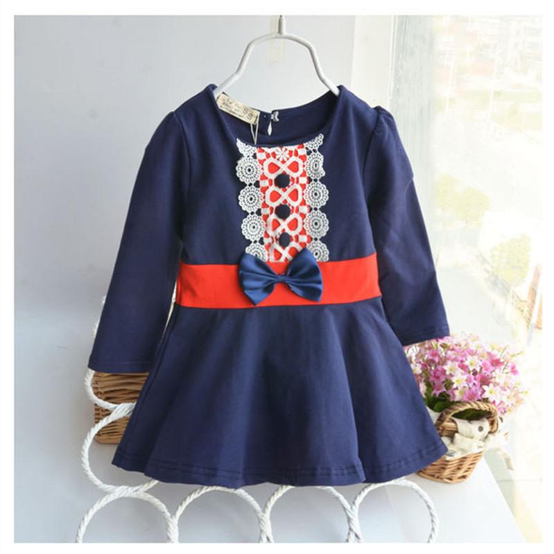 Vintage Lace Baby Dress Bow Long Sleeve Dress Girls for Kids O-neck Cotton Flounced Hem Princess Style Infant Girl Dresses 6M-2T(China (Mainland))
