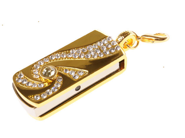 Metal Crystal Gold Stainless steel rotary Key Chain USB 2.0 Flash Drive 8GB 16GB 32GB Memory Stick Thumb Disk / Car / Pen Drives(China (Mainland))