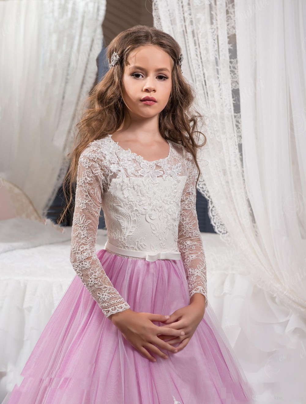2017-Princess-Long-Sleeves-Lace-Flower-Girl-Dresses-2017-Vestidos-Puffy-Pink-Kids-Evening-Ball-Gown (2)