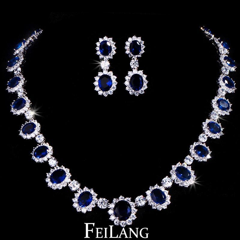 FEILANG Design Gorgeous Micro Inlay Full Pear Around Dark Blue Oval Shape CZ Diamond Flower Jewelry Sets Women (FSSP018B)