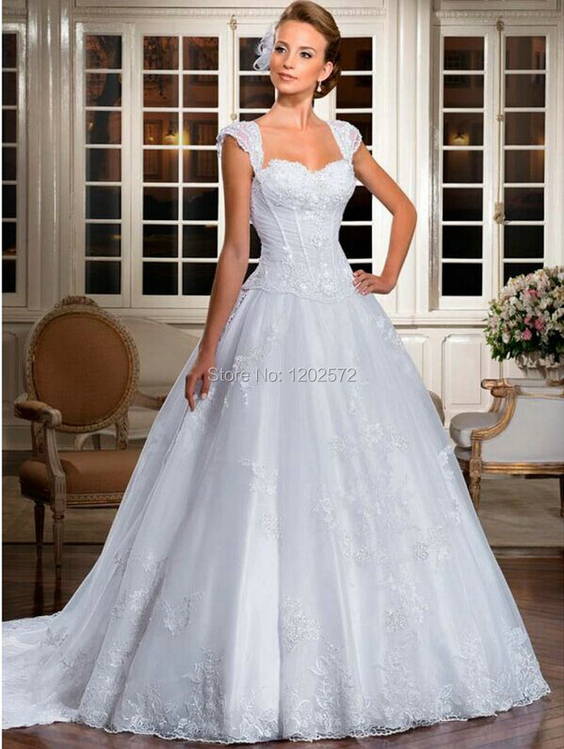 Princess Style Wedding Dress Lace : Princess style wedding dress vernassa cap sleeve lace up bride gown