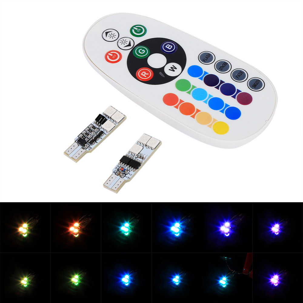 1 pair t10 rgb multi colors changing led lamp colorful car interior light with remote control us79. Black Bedroom Furniture Sets. Home Design Ideas