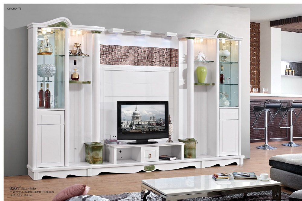 simple tv cabinet wine cooler coffee table combination glass shelf white pain