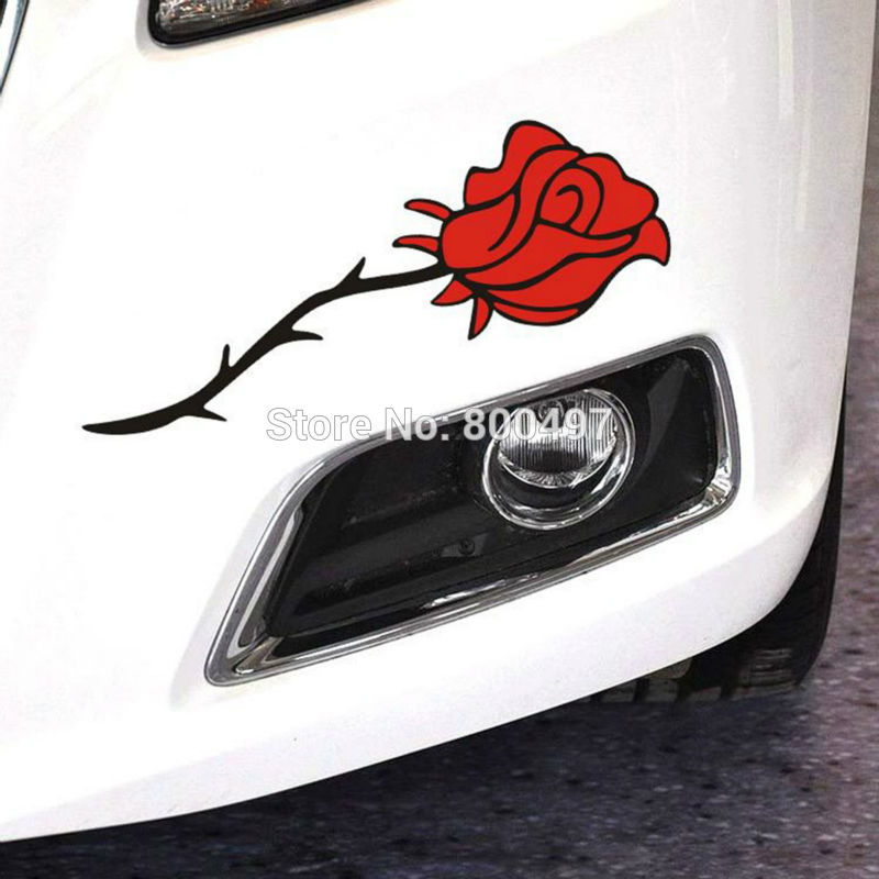 Red Rose or Blue Rose Flowers Car Stickers and Decals Car-covers Car Styling for Tesla Toyota Chevrolet Ford Hyundai Volkswagen(China (Mainland))