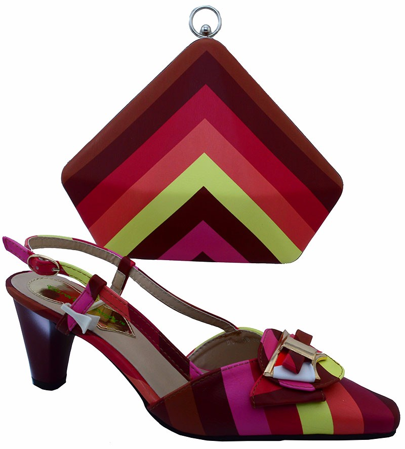African Shoe and Bag Set Design Matching Shoes and Bags for Red Color Size 38-42 With Free Shipping By DHL.