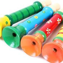 2014 New SE Brief Baby Kid Children Wooden Toy Musical Instrument Trumpet Hooter Bugle Suona Toy ES(China (Mainland))