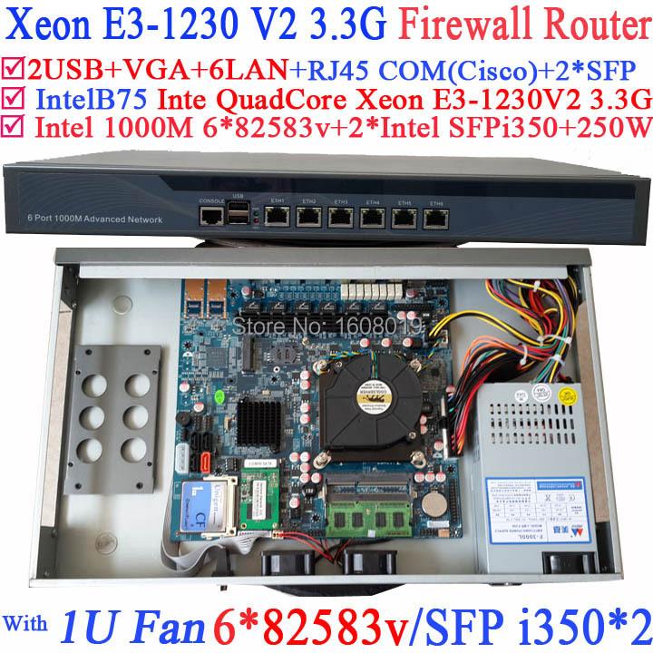 Universal Access Routers 1U Firewall Barebone with two SFP intel i350 six 82583v Gigabit lan Inte Quad Core Xeon E3-1230 V2 3.3G(China (Mainland))
