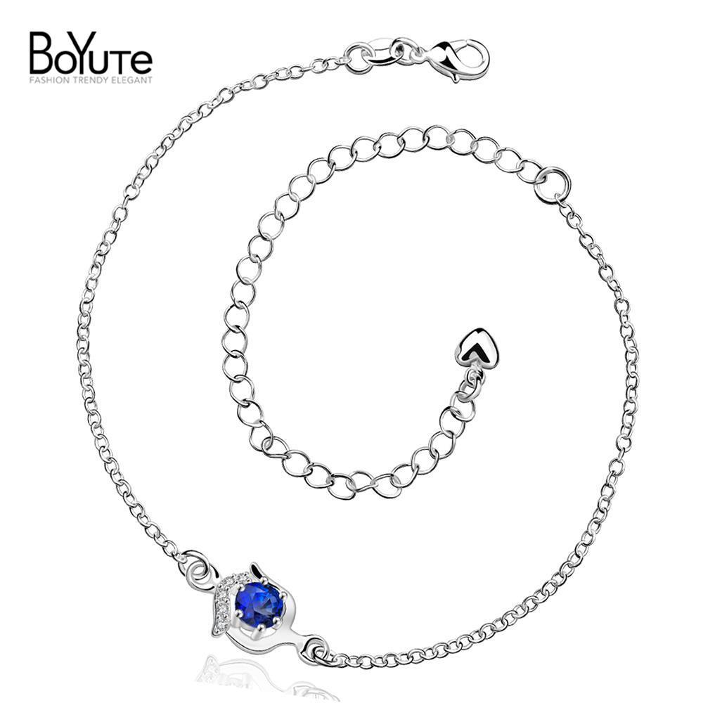 2016 New Silver 925 Anklet Fashion Design CZ Diamond Foot Bracelet Jewelry For Women(China (Mainland))