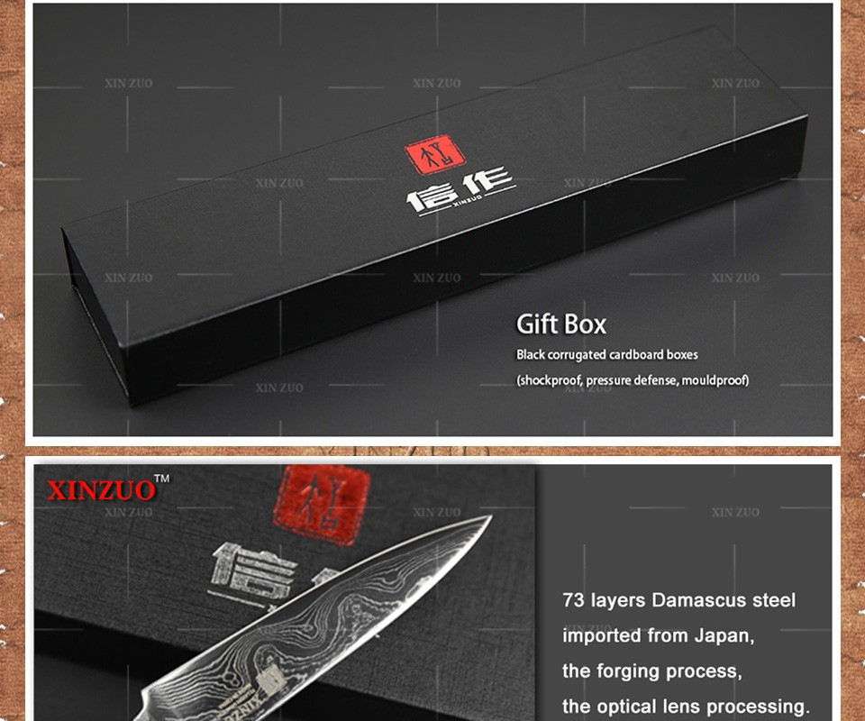 Buy XINZUO 5 pcs kitchen knife set Japanese Damascus steel kitchen knife VG10 chef cleaver paring knife wood handle free shipping cheap