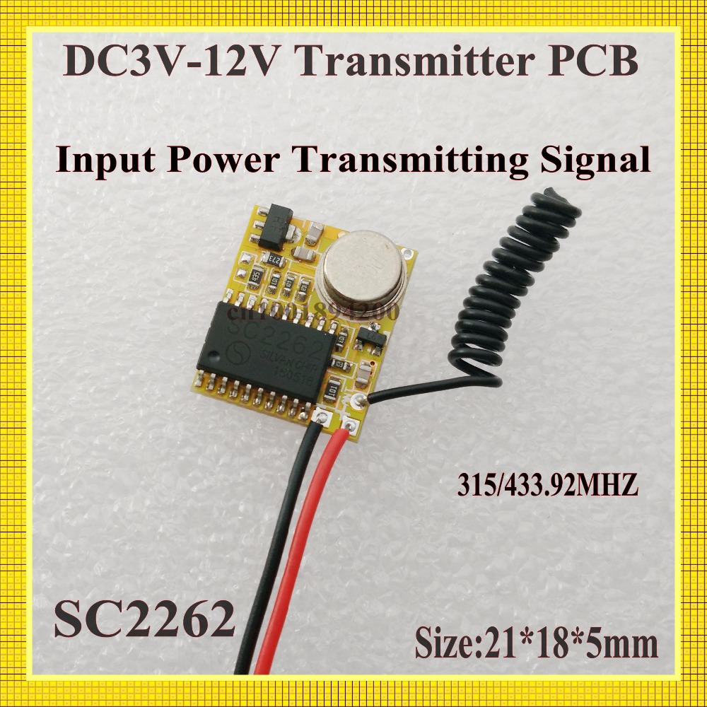 RF Transmitter PCB 3V-12V 3.7V 4.5V 5V 6V 7.4V 9V 12V Radio Remote Control PCB Input Power Transmitting Signal 315/433Fixed Code<br><br>Aliexpress
