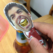 2016 The Luis Alberto Suarez Stainless Steel Opener Beer Bottle Opener Liverpool Kitchen Cooking Tools World Cup Creative Gift(China (Mainland))
