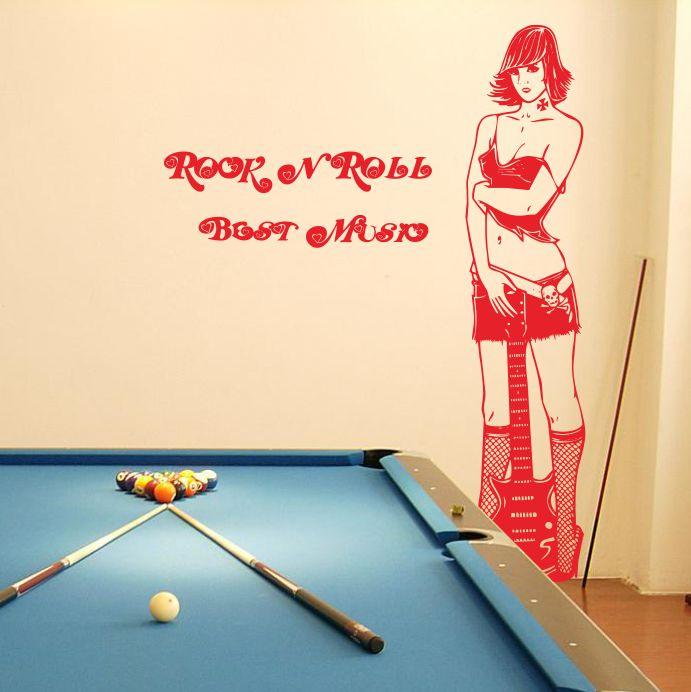 Guitar Girl wall stickers Internet cafe cafe bar billiards room sofa backdrop decorative stickers entrance(China (Mainland))