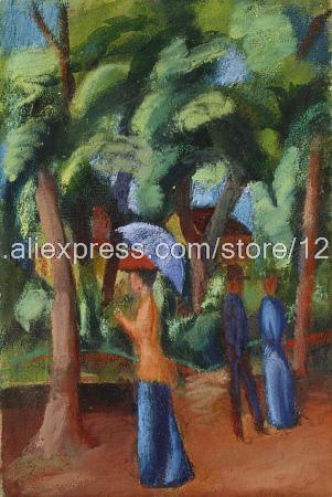 August Macke A Stroll In The Park Browse Our Shop hand painted colorful paintings wall art wall decor paintings modern C(China (Mainland))