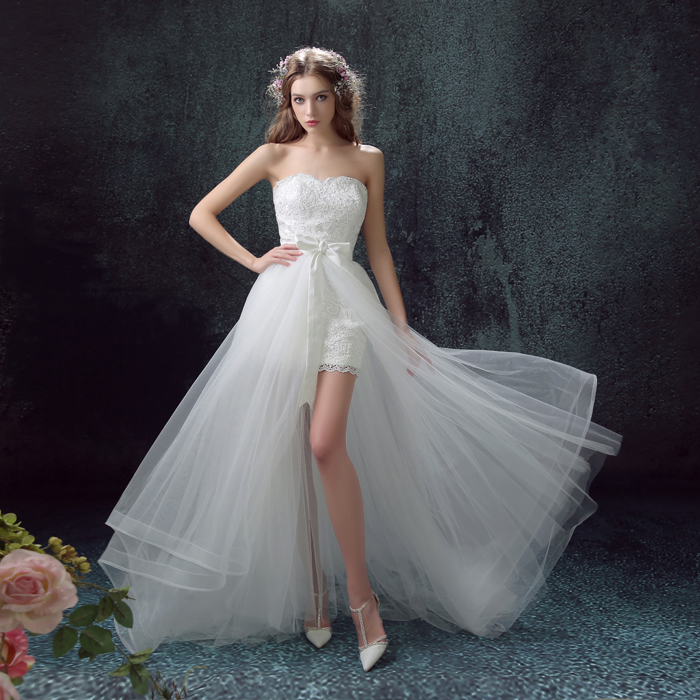 Luxury Sexy Lace Wedding Dress 2016 Short Front Back Long Detachable Tail Strapless Elegant Small Wedding Gowns Vestido De Noiva(China (Mainland))