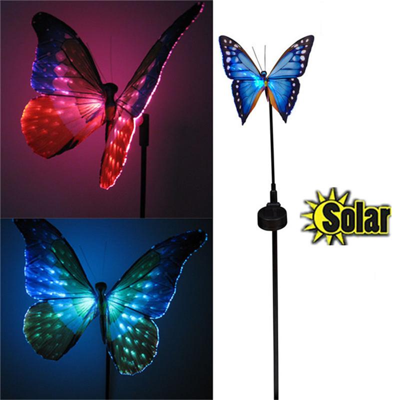 high quality waterproof Solar LED Optical fiber butterfly Insert ground lamp Path Light Outdoor Garden Lawn Landscape lightings(China (Mainland))
