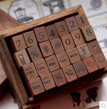 """28pcs Vintage DIY wood stamps include """"numbers, date , weather symbol"""" free shipping(China (Mainland))"""