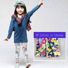 Vendita al dettaglio 1 pz 2-14 anni 10 colori primavera estate capretto ragazze leggins morbido fiore della stampa della ragazza legging, 1158(China (Mainland))