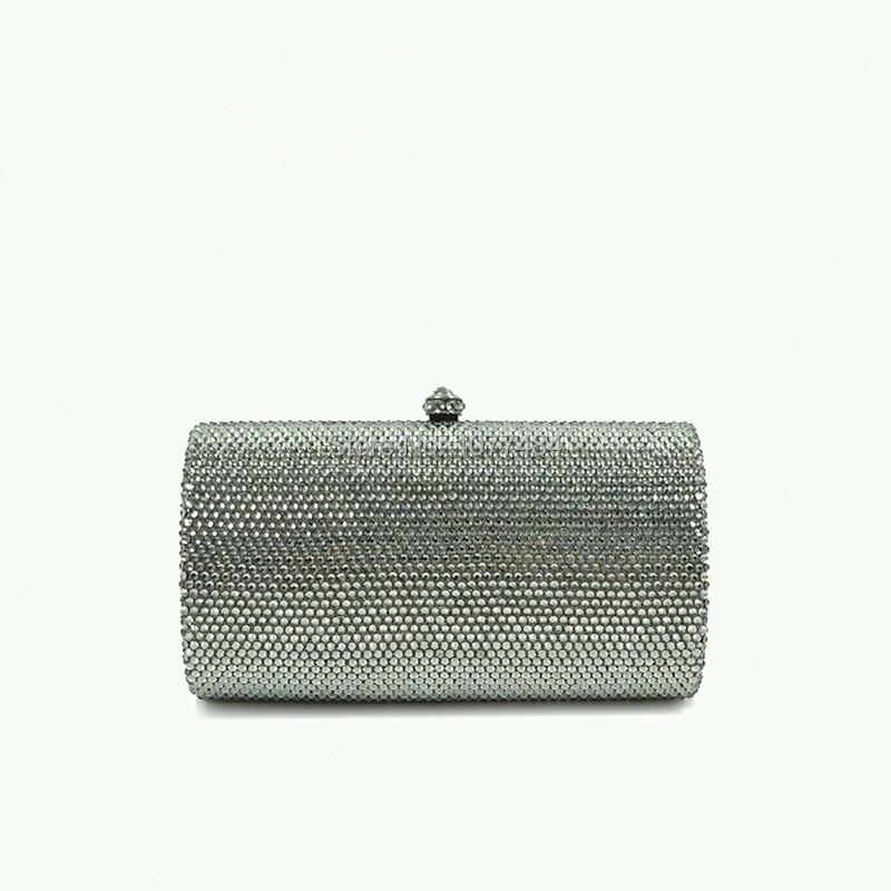 Five Clear Colors Crystal Stone Vintage Silver Grey Evening Bag Handbag Clutch Bag Wedding ...