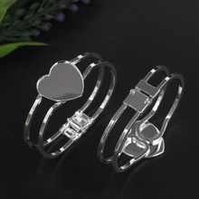 10pcs/Lot  25mm Inner Heart Pad Copper with Silver Plated Bracelet Vintage Bangle DIY Jewelry Accessories(China (Mainland))