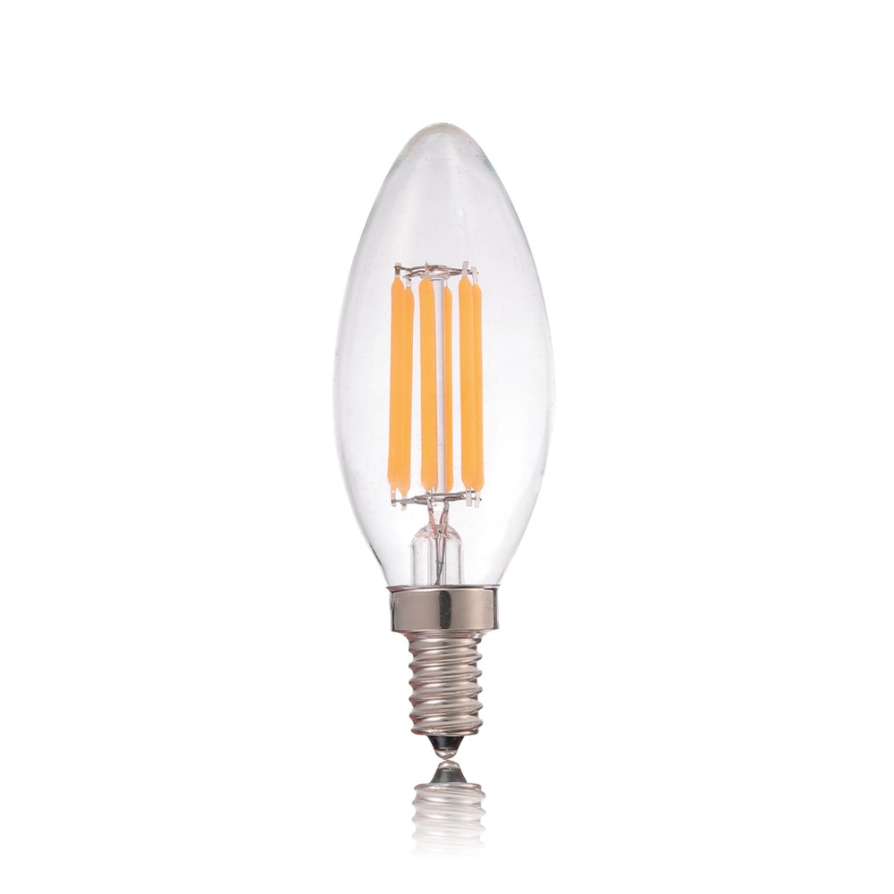 Dimmable 2w 4w 6w Led Filament Candle Bulb C35 C35t Flame Tip Type 110v 220vac E12 E14 Base